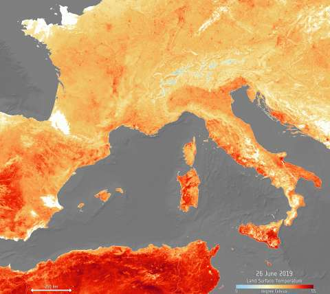 Satellite images showing the European heatwave